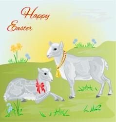 Easter lamb and sheep and daffodil vector image
