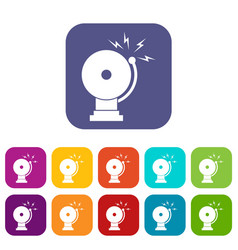 fire alarm icons set vector image