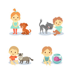 kids and pets isolated on white background - boys vector image
