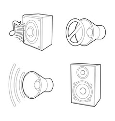 speaker icon set outline style vector image