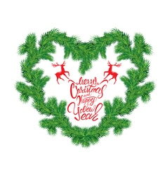 Frame of Christmas fir tree branches in heart shap vector image vector image