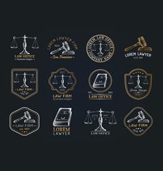 law office icons set with scales of justice gavel vector image