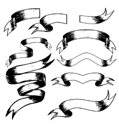 Set of hand drawn blank vintage ribbons vector image vector image