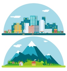 Spring Urban and Countryside Landscape City vector image