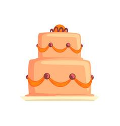 cake for birthday holiday sweet dessert cartoon vector image vector image