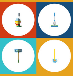 flat icon cleaner set of mop besom cleaning and vector image