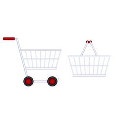 grocery cart food basket vector image vector image