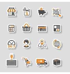 Internet Shopping and Delivery Sticker Icon Set vector image vector image