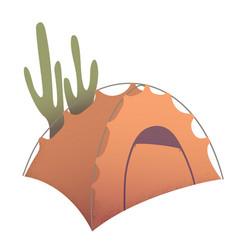 orange camping tent vector image