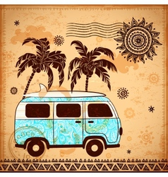 Retro Travel bus with vintage background vector image vector image