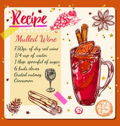 Sketch mulled wine recipe vector