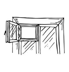beautiful window with an open window vector image vector image