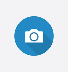 camera Flat Blue Simple Icon with long shadow vector image