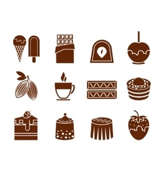 Chocolate and candy icons set vector image vector image