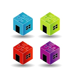 Colorful Logos for real estate market with puzzle vector image vector image