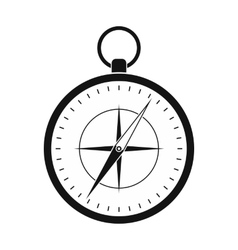 Compass with windrose black simple icon vector image