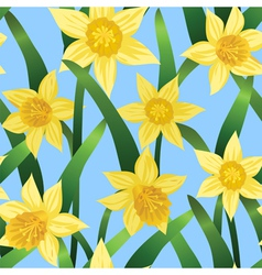 seamless background with daffodils vector image vector image