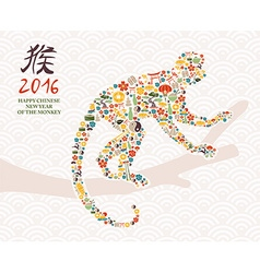 2016 happy chinese new year of monkey icons card vector image