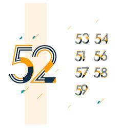 52 year retro anniversary set celebration vector