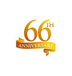 66 year ribbon anniversary vector image