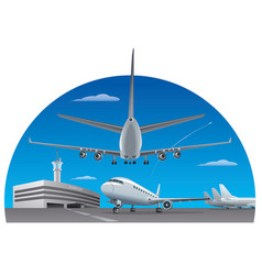 Airport and airplanes vector