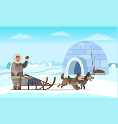 arctic expedition eskimo in igloo house vector image