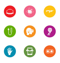 Artificial world icons set flat style vector