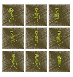 assembly flat shading style icon skeleton vector image