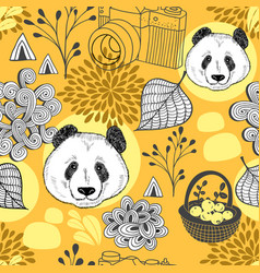autumn in china seamless pattern vector image