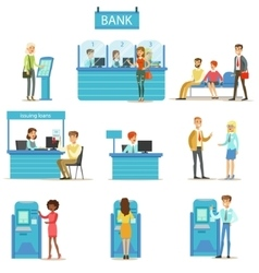 Bank Service Professionals And Clients Different vector