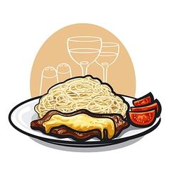 beef steak and pasta vector image