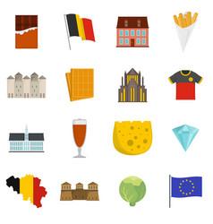 Belgium travel icons set flat vector