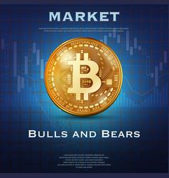 bitcoin golden coin background vector image