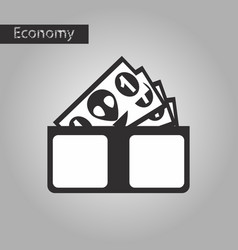 Black and white style icon money in a purse vector