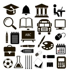 Black icons education set on white vector