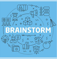 blue line flat circle brainstorm vector image
