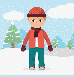 Boy with winter clothes and cold weather vector