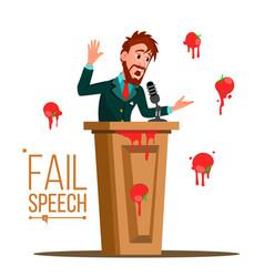 Businessman fail speech unsuccessful vector