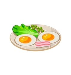 Cartoon Breakfast with Bacon Fried Eggs and vector