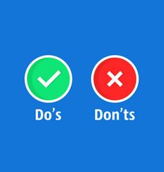 cartoon dos and donts check box vector image