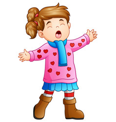 cartoon funny girl in winter clothes singing vector image