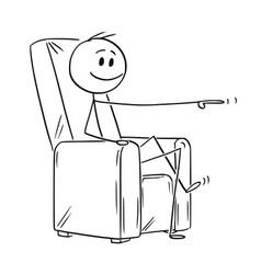 cartoon of happy man or businessman sitting in vector image