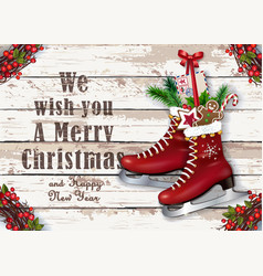 christmas greeting card with wintry vintage skates vector image
