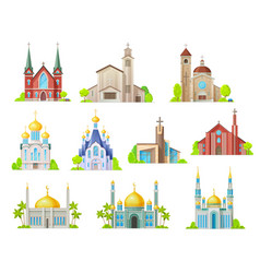 Church mosque and temple religion buildings vector