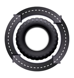 Circles Arrow Road And Car tire vector image