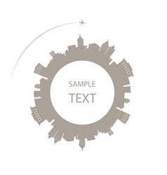 City in circle and a plane around space for text vector