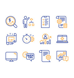 Cogwheel timer computer and medical help icons vector