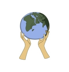 Colored doodle globe in women hands vector image