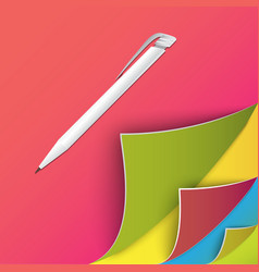 Colorful set of page with round corners Realistic vector
