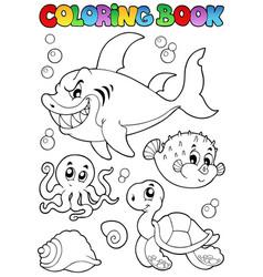 Coloring book various sea animals 1 vector